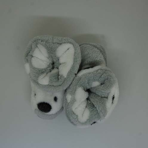 grey bear baby bootie