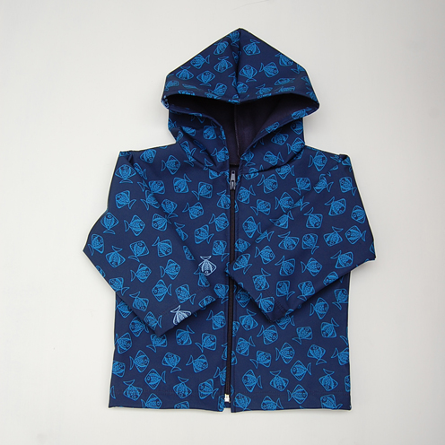 navy fish raincoat
